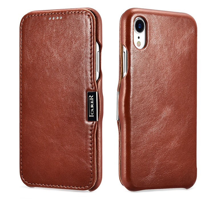 Husa piele naturala, tip carte, inchidere magnetica iPhone XR - iCARER Vintage Side Open, Maro coniac