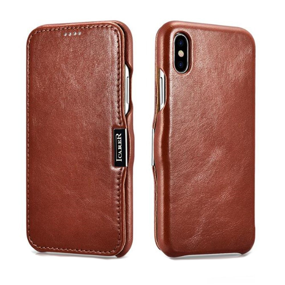 Husa din piele, tip carte, inchidere magnetica, iPhone X / XS - iCARER Vintage Side Open, Maro coniac