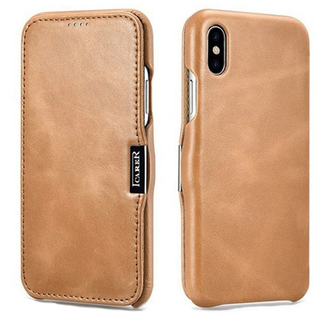 Husa din piele, tip carte, inchidere magnetica, iPhone XS Max - iCARER Vintage Side Open, Camel