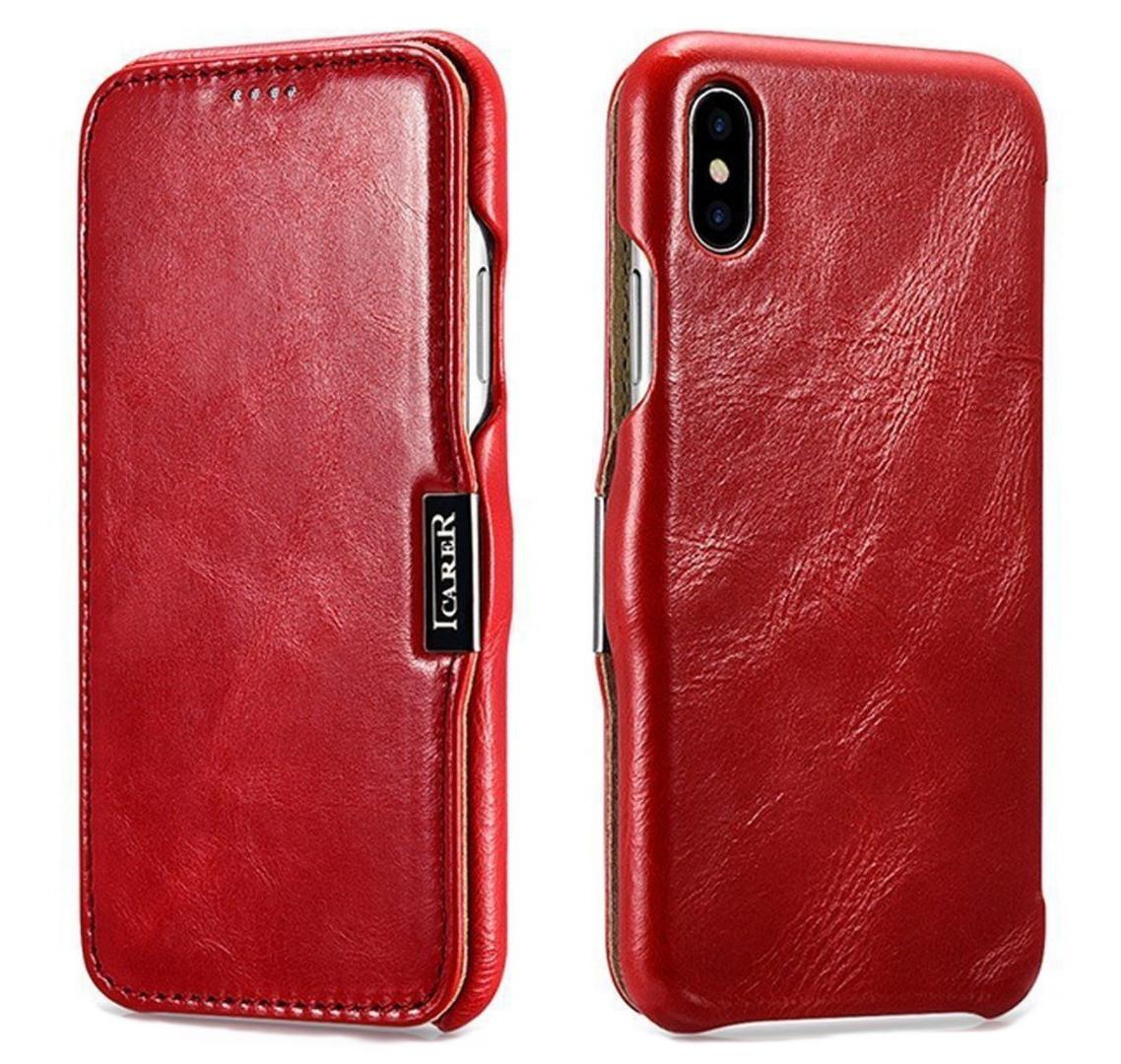 Husa din piele, tip carte, inchidere magnetica, iPhone X / XS - iCARER Vintage Side Open, Rosu burgund