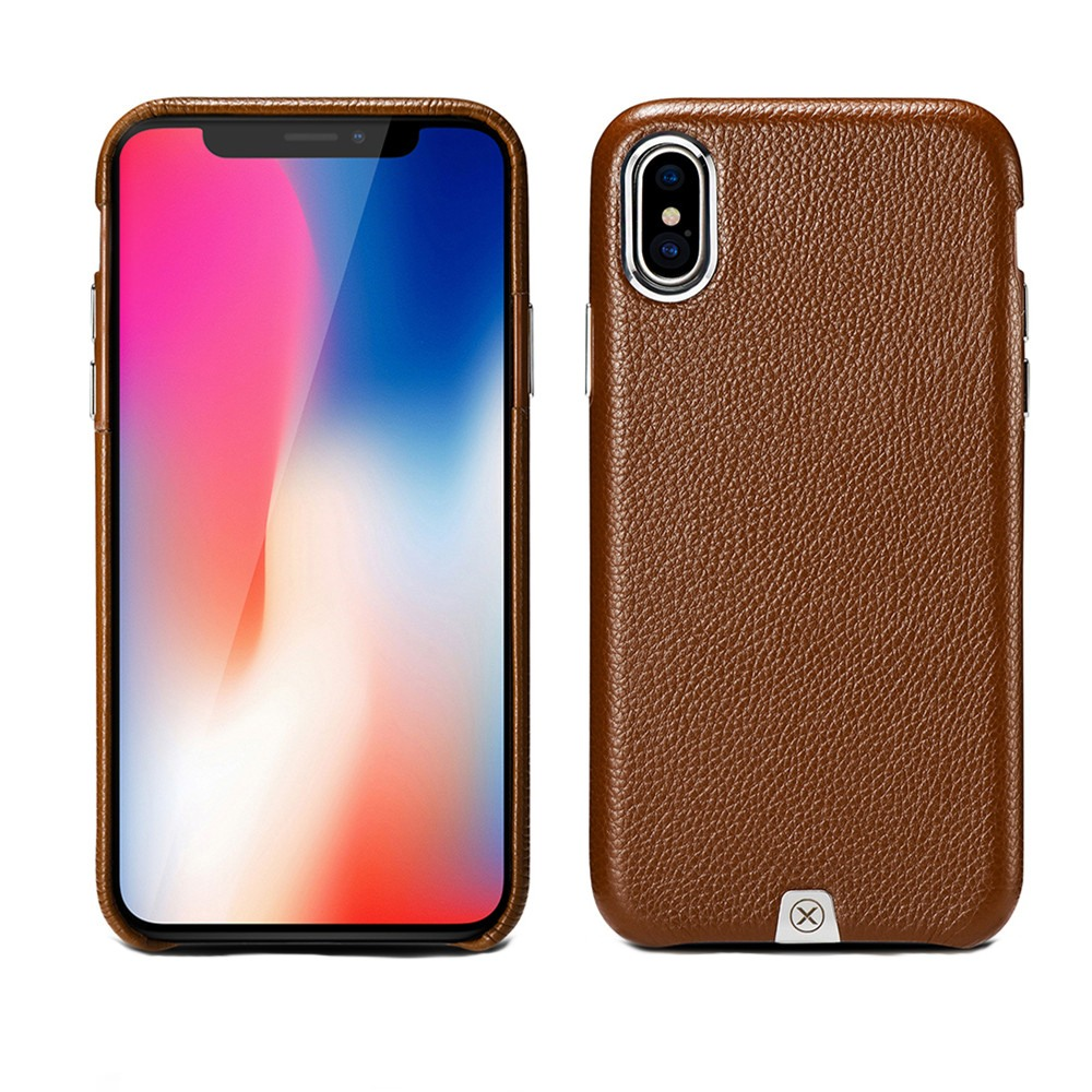Husa din piele naturala, tip back cover, iPhone X - Xoomz by iCarer Litchi, Maro