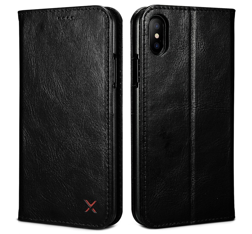 Husa slim din piele, inchidere magnetica, tip carte, iPhone X / XS - Xoomz by iCarer Wallet, Negru