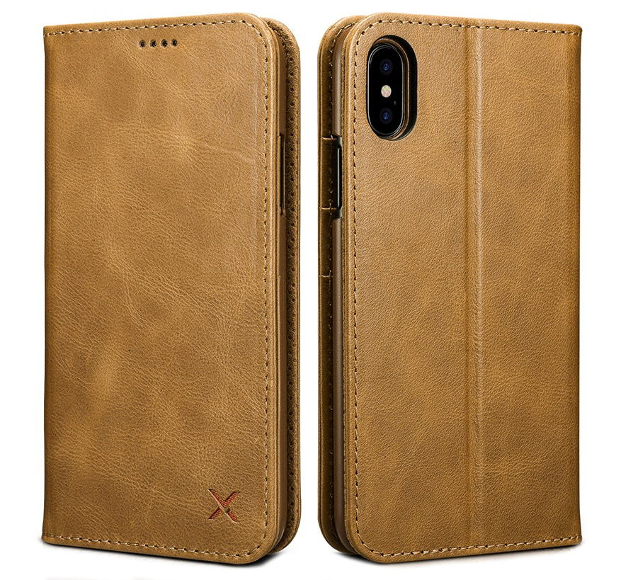 Husa slim din piele, inchidere magnetica, tip carte, iPhone X / XS - Xoomz by iCarer Wallet, Maro