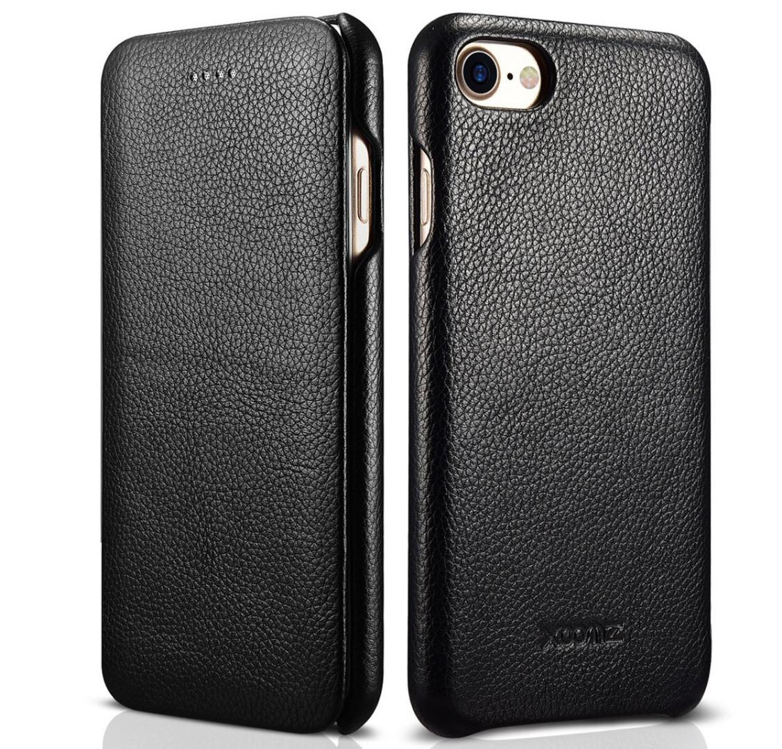 Husa din piele naturala texturata, iPhone SE 2 (2020) / iPhone 8 / iPhone 7, tip carte - Xoomz by iCarer, Negru
