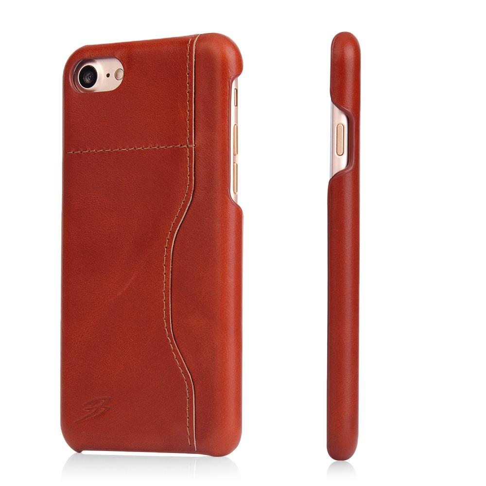 Husa slim din piele, back cover, cu locas pentru card - iPhone SE 2 (2020), iPhone 8, iPhone 7, Maro coniac