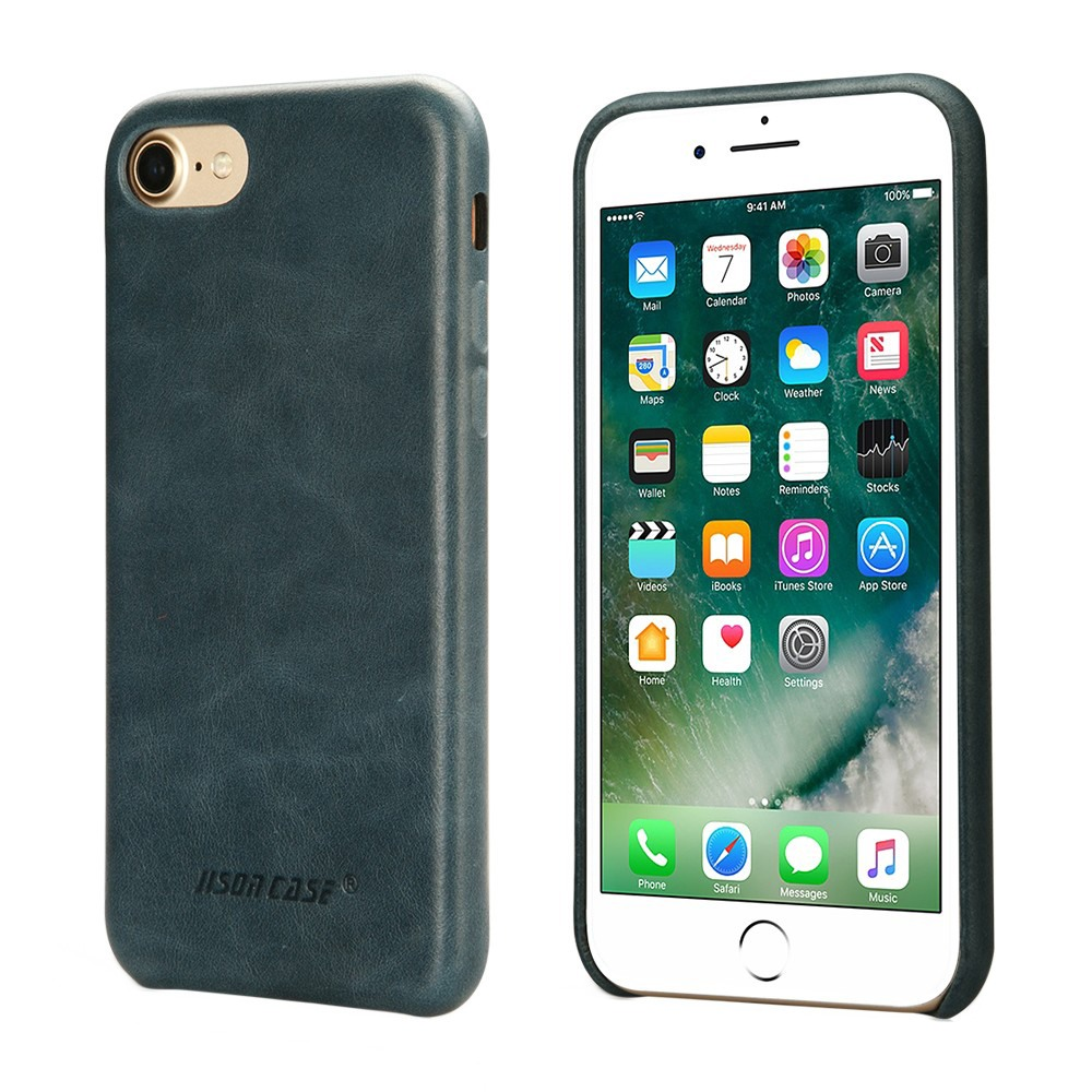 Husa slim din piele naturala, fara clapeta, iPhone 8 / iPhone 7 / iPhone 6 / 6s - Jison Case Classic, Albastru