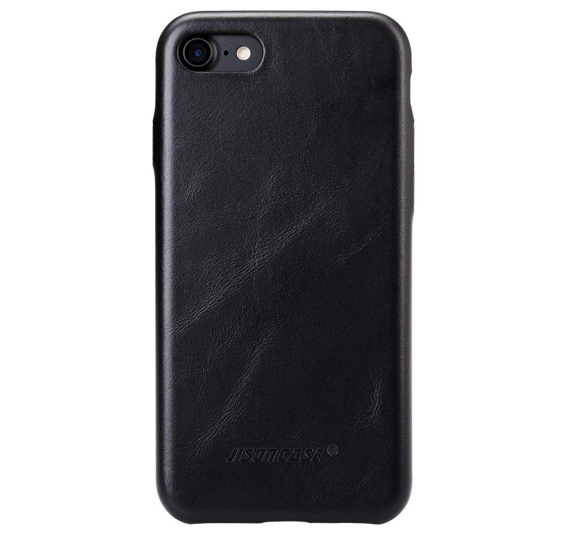 Husa slim din piele naturala, fara clapeta, iPhone 8 / iPhone 7 / iPhone 6 / 6s - Jison Case Classic, Negru