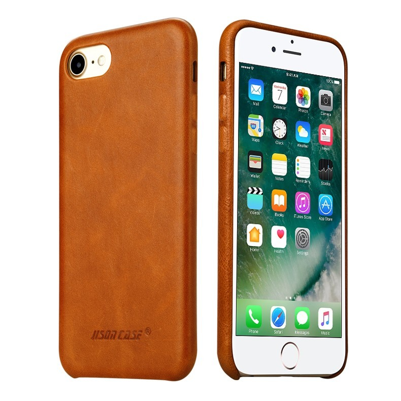 Husa slim din piele naturala, fara clapeta, iPhone SE 2 (2020) / iPhone 8 / iPhone 7 - Jison Case Classic, Maro coniac