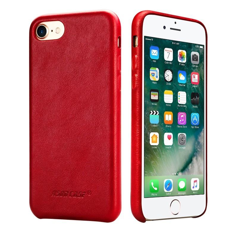 Husa slim din piele naturala, fara clapeta, iPhone SE 2 (2020) / iPhone 8 / iPhone 7 - Jison Case Classic, Rosu