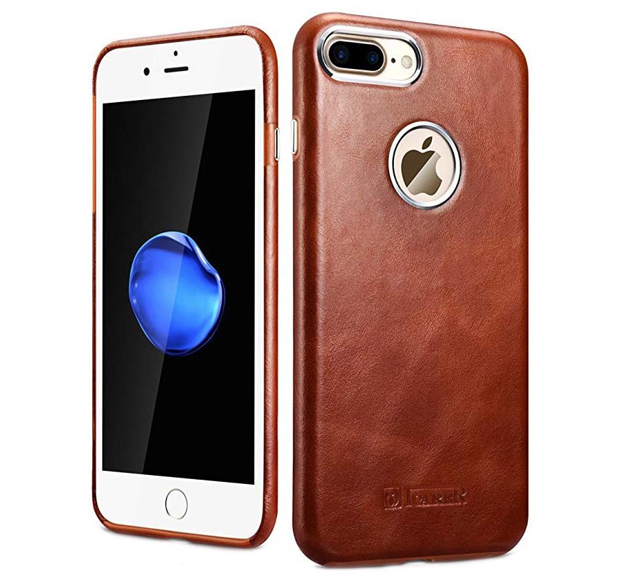 Husa piele naturala, tip back cover, iPhone 8 Plus - iCarer Transformers, Maro coniac