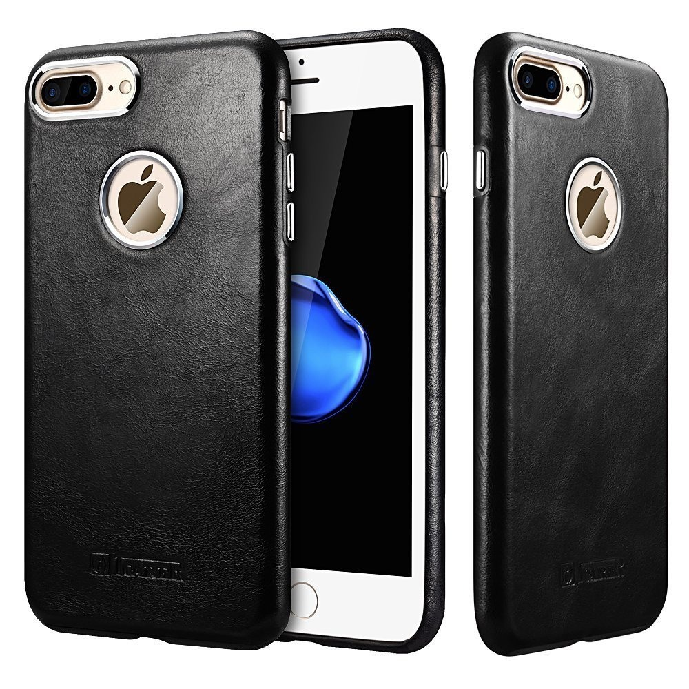 Husa piele naturala, tip back cover, iPhone 7 Plus - iCarer Transformers, Negru