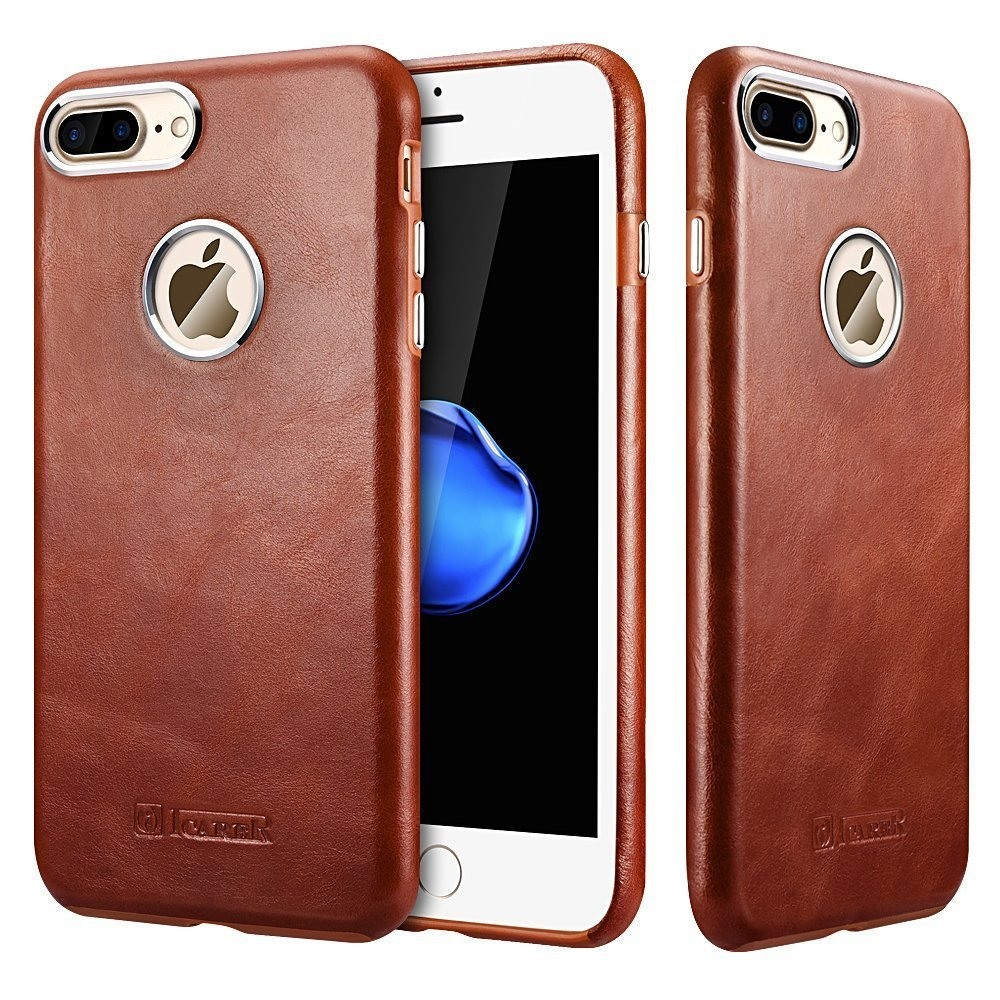 Husa piele naturala, tip back cover, iPhone 7 Plus - iCarer Transformers, Maro coniac