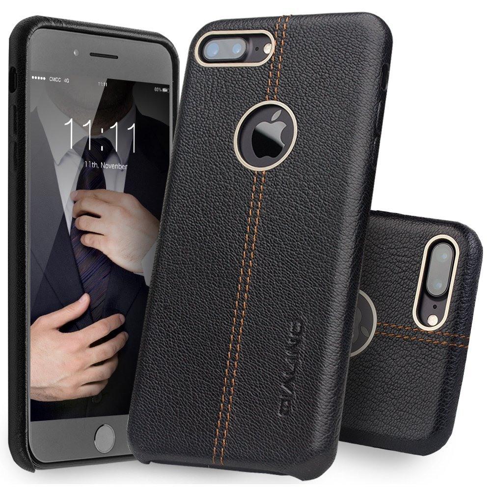 Husa slim piele naturala, tip back cover, iPhone 7 Plus - Qialino Litchi, Negru
