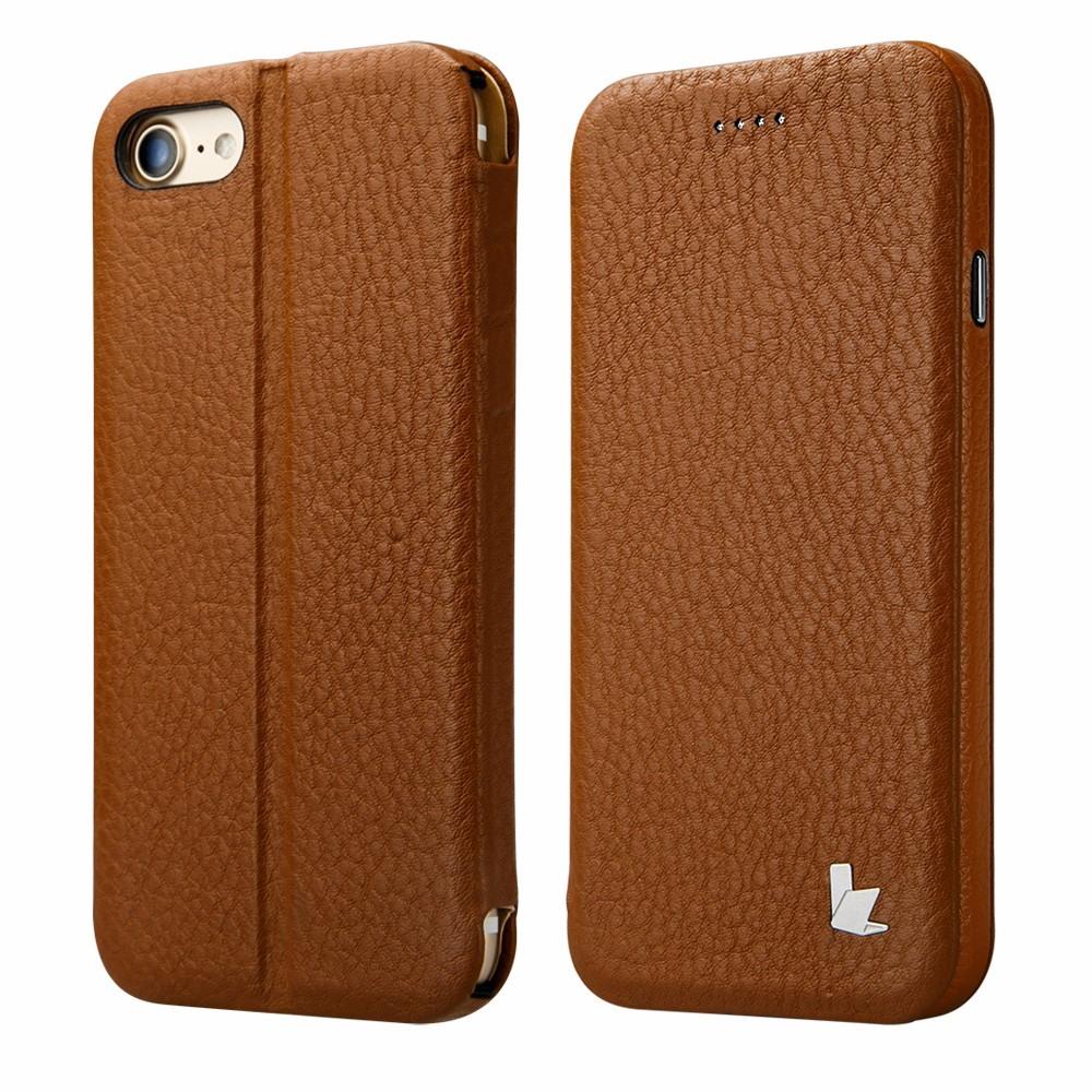 Husa piele naturala, inchidere magnetica, functie stand, tip carte, iPhone SE 2 (2020), iPhone 8, iPhone 7 - Jison Case, Maro