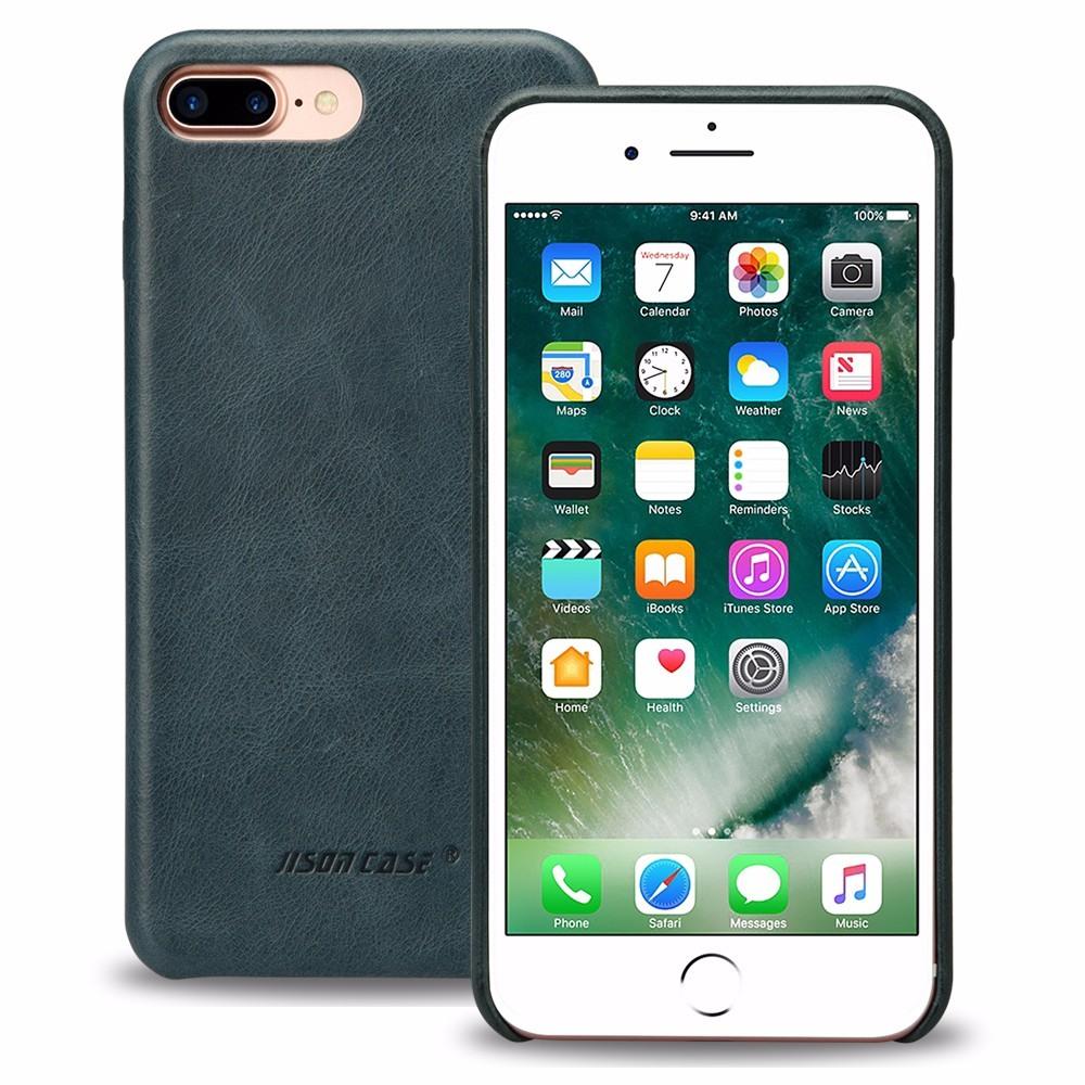 Husa slim piele naturala, fara clapeta, iPhone 8 Plus / 7 Plus - Jison Case Classic, Albastru