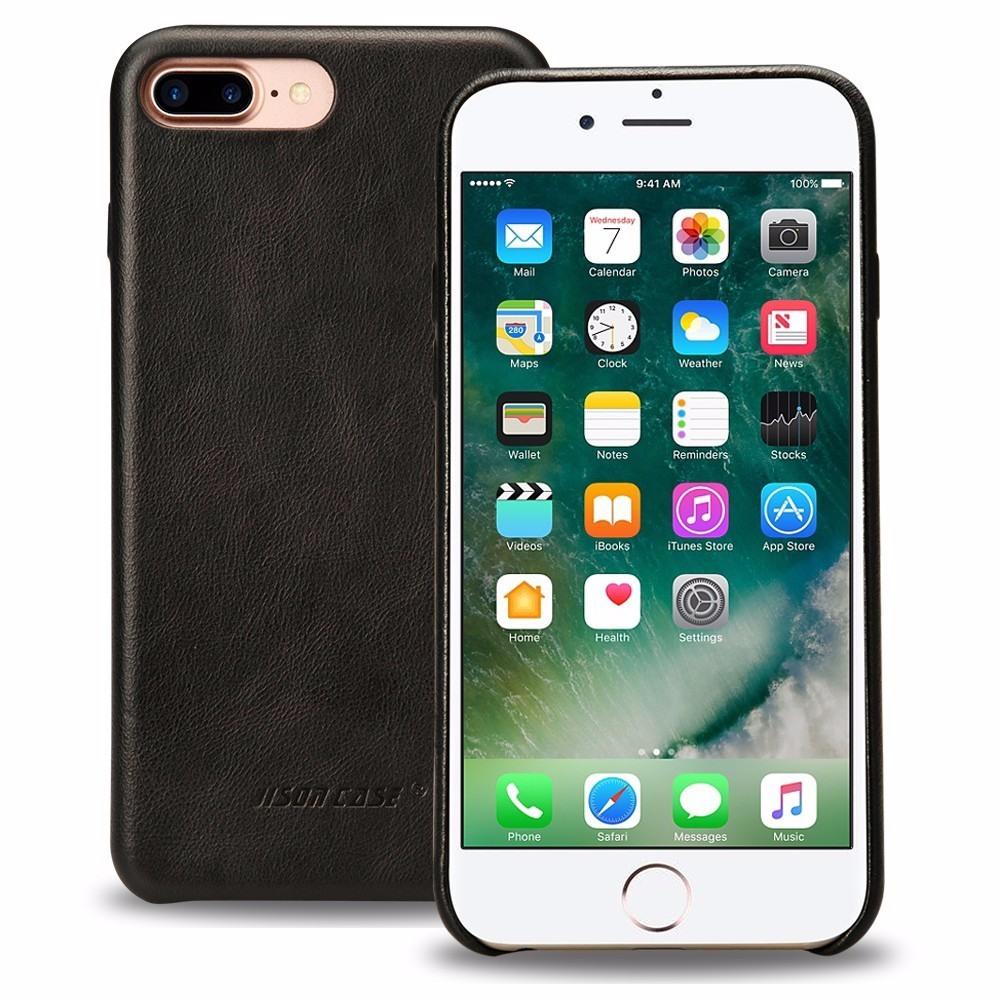 Husa slim piele naturala, fara clapeta, iPhone 8 Plus / 7 Plus - Jison Case Classic, Negru