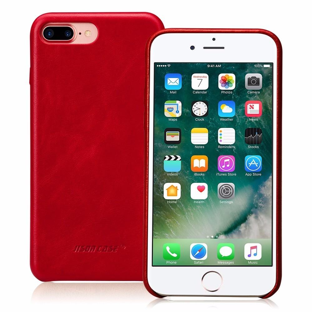 Husa slim piele naturala, fara clapeta, iPhone 8 Plus / 7 Plus - Jison Case Classic, Rosu