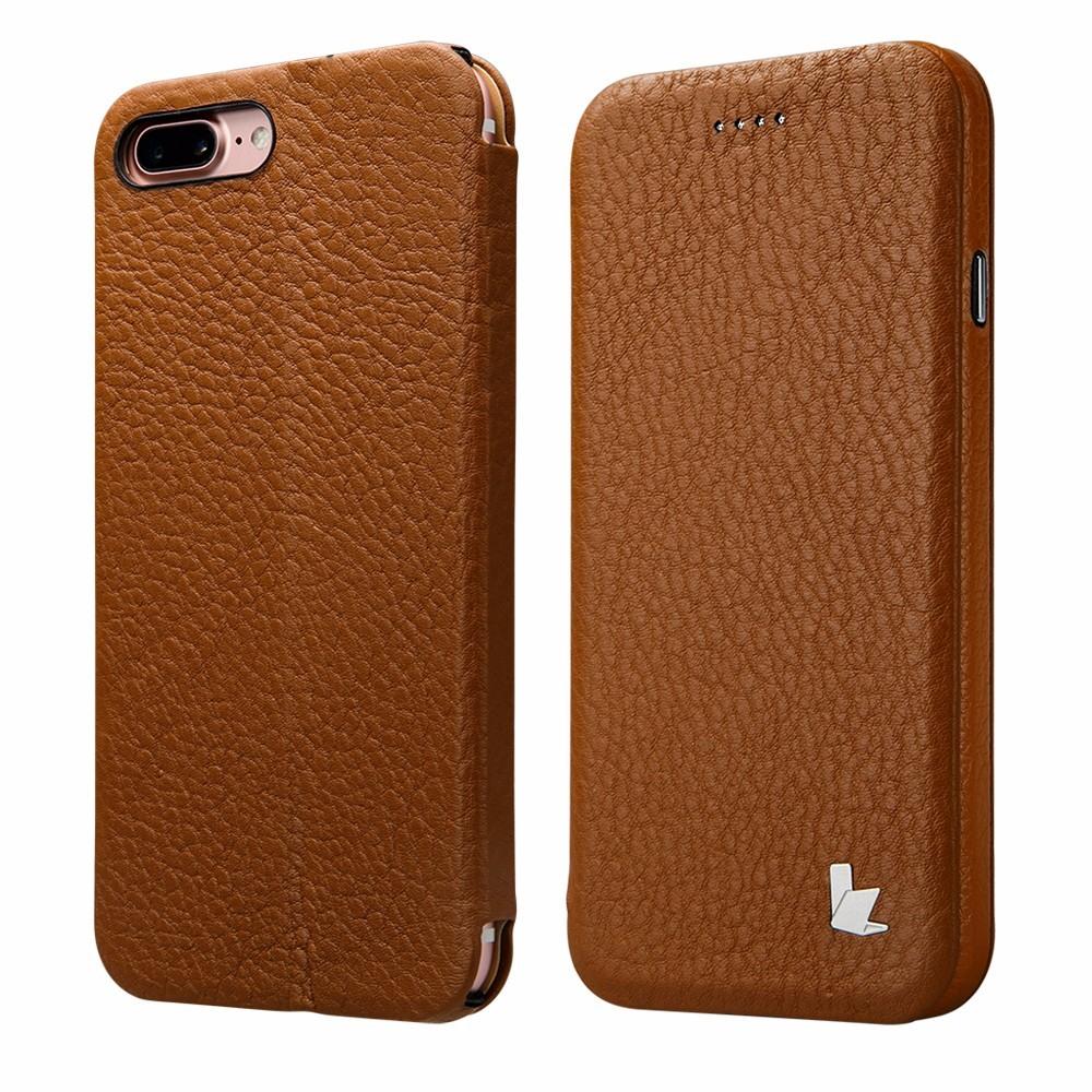 Husa din piele naturala cu inchidere magnetica, functie stand, tip carte, iPhone 8 Plus / 7 Plus - Jison Case, Maro