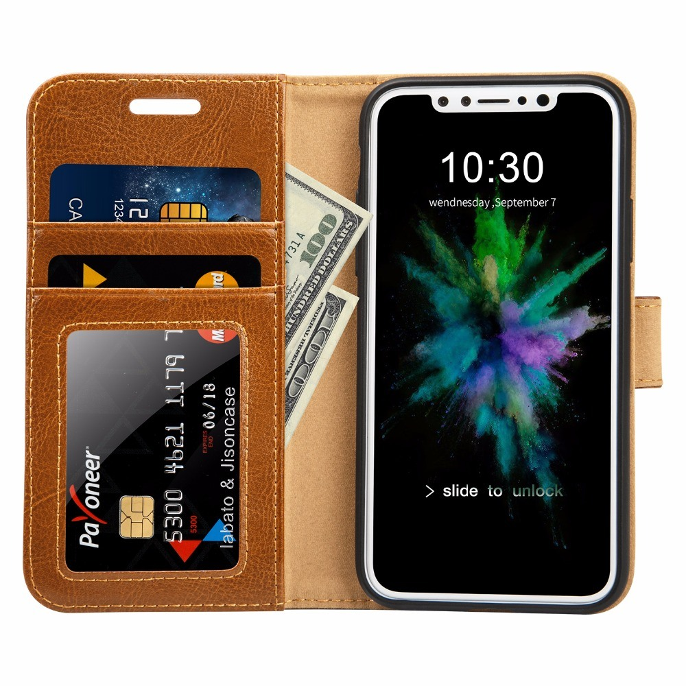Husa piele fina naturala, tip portofel, suport din silicon, iPhone X / XS - Jison case, Maro