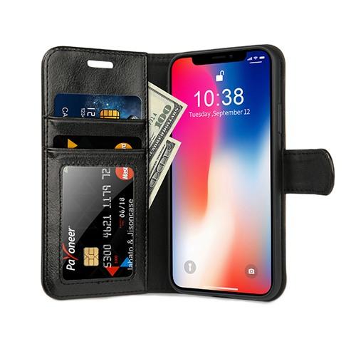 Husa piele fina naturala, tip portofel, suport din silicon, iPhone X / XS - Jison case, Negru