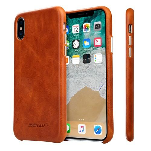 Husa slim din piele naturala, fara clapeta, iPhone X / XS - Jison Case Classic, Maro coniac