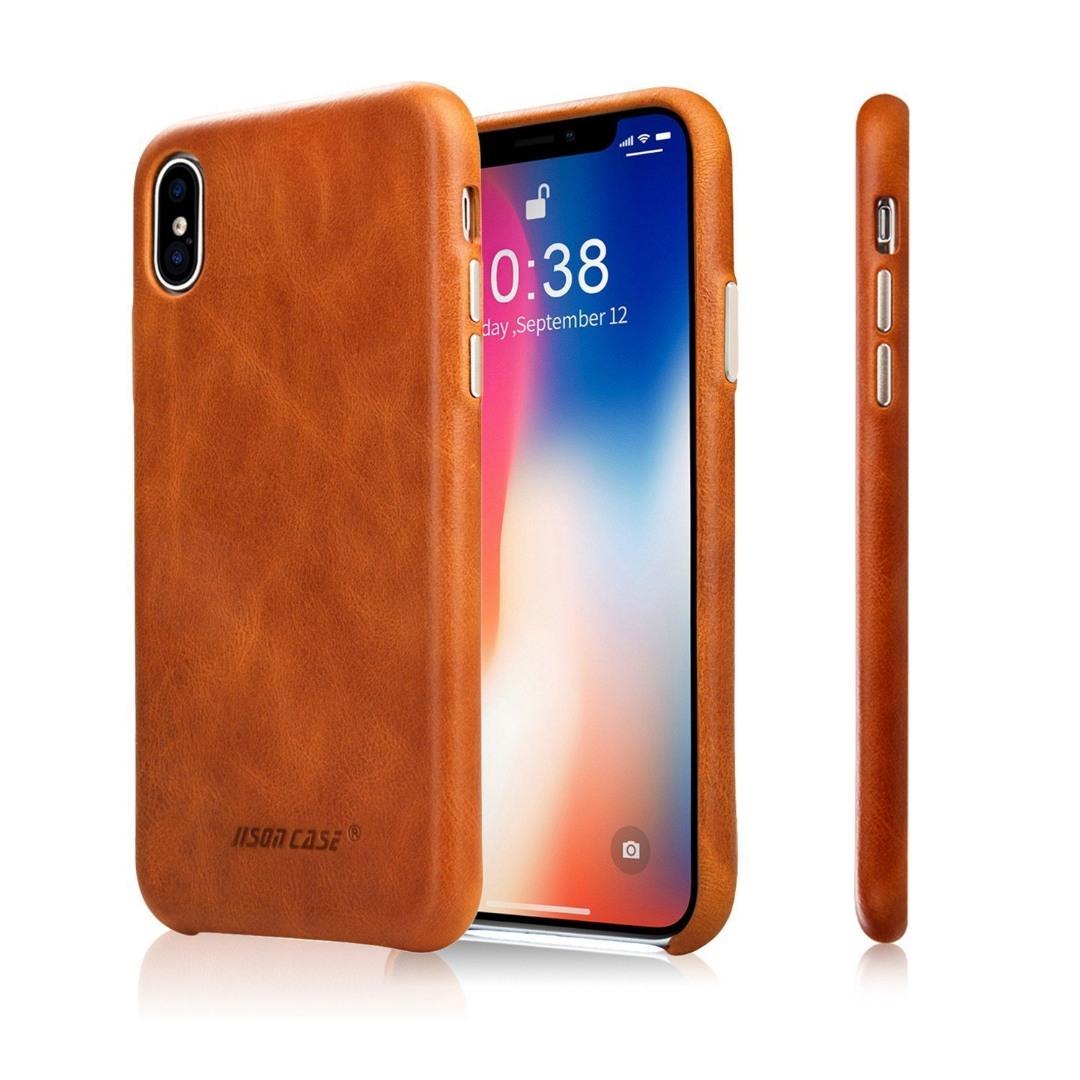 Husa slim din piele naturala, fara clapeta, iPhone XS Max - Jison Case Classic, Maro coniac