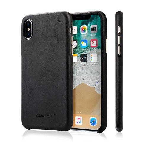Husa slim din piele naturala, fara clapeta, iPhone XS Max - Jison Case Classic, Negru