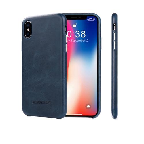 Husa slim din piele naturala, fara clapeta, iPhone X / XS - Jison Case Classic, Albastru