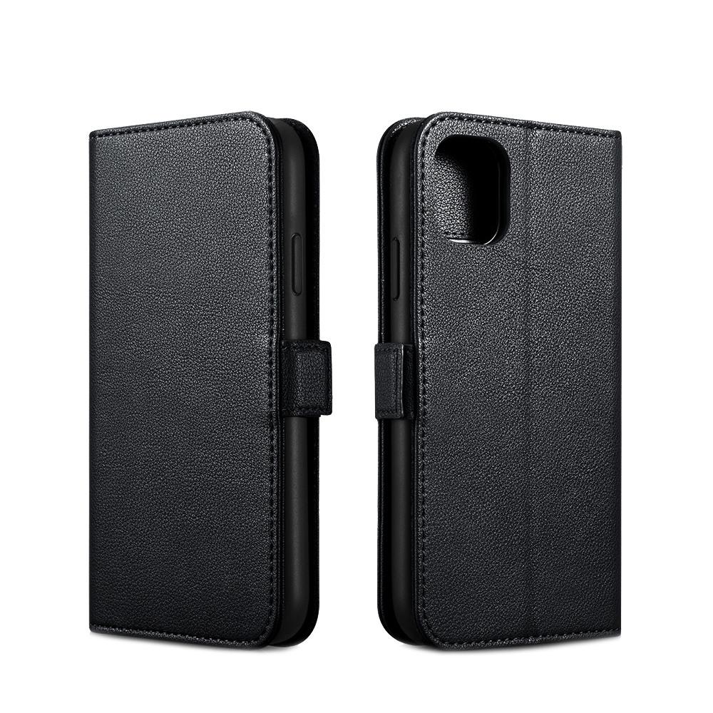 Husa piele naturala Nappa 2 in 1, inchidere magnetica, tip carte + back cover, iPhone 11 - iCarer, Negru