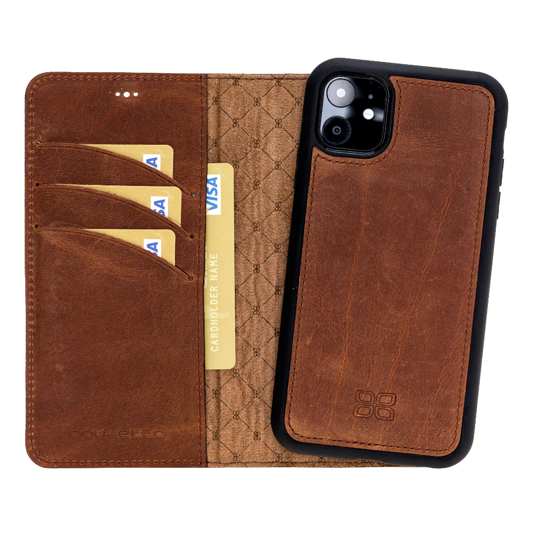 Husa piele naturala 2 in 1, tip portofel + back cover, iPhone 11 - Bouletta Magic Wallet, Antique brown