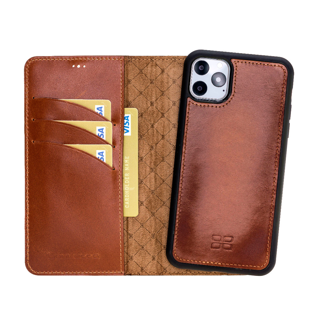 Husa piele naturala 2 in 1, tip portofel + back cover, iPhone 11 Pro Max - Bouletta Magic Wallet, Burnished tan