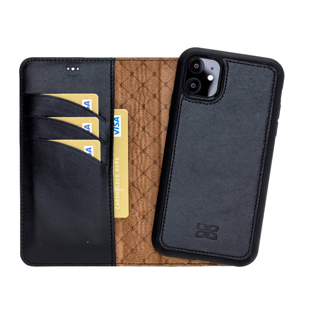Husa piele naturala 2 in 1, tip portofel + back cover, iPhone 11 - Bouletta Magic Wallet, Rustic black