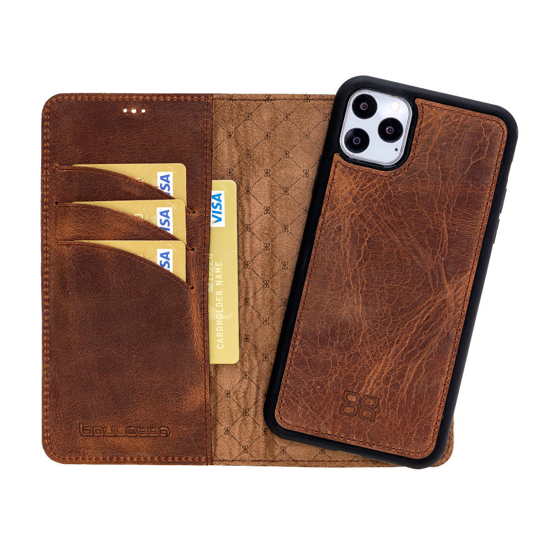 Husa piele naturala 2 in 1, tip portofel + back cover, iPhone 11 Pro Max - Bouletta Magic Wallet, Antique brown