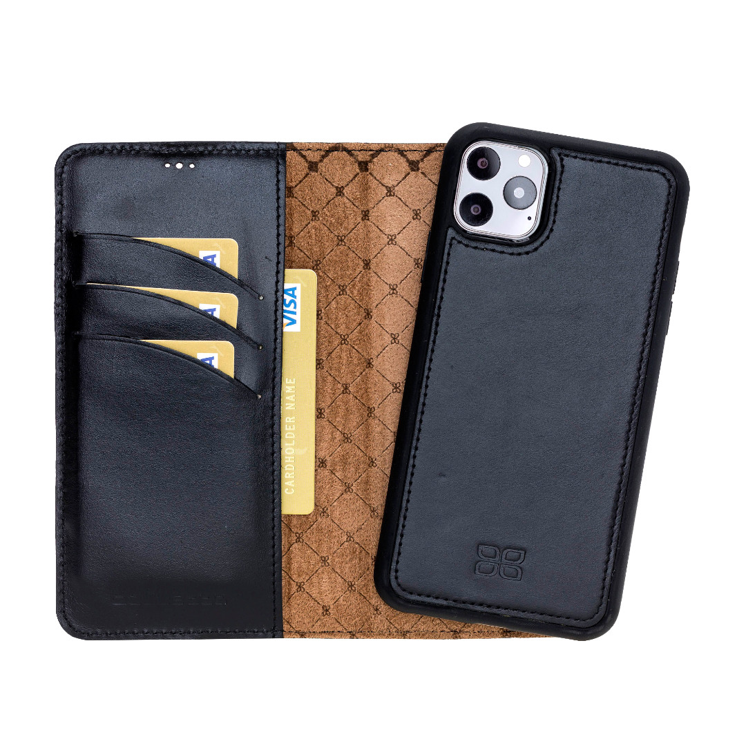Husa piele naturala 2 in 1, tip portofel + back cover, iPhone 11 Pro - Bouletta Magic Wallet, Rustic black