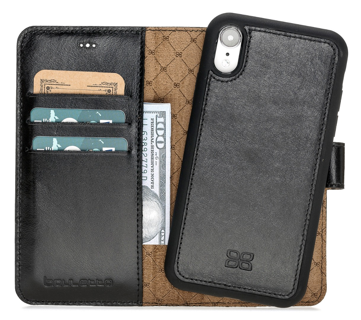 Husa piele naturala 2 in 1, tip portofel + back cover, iPhone XR - Bouletta Magic Wallet, Rustic black