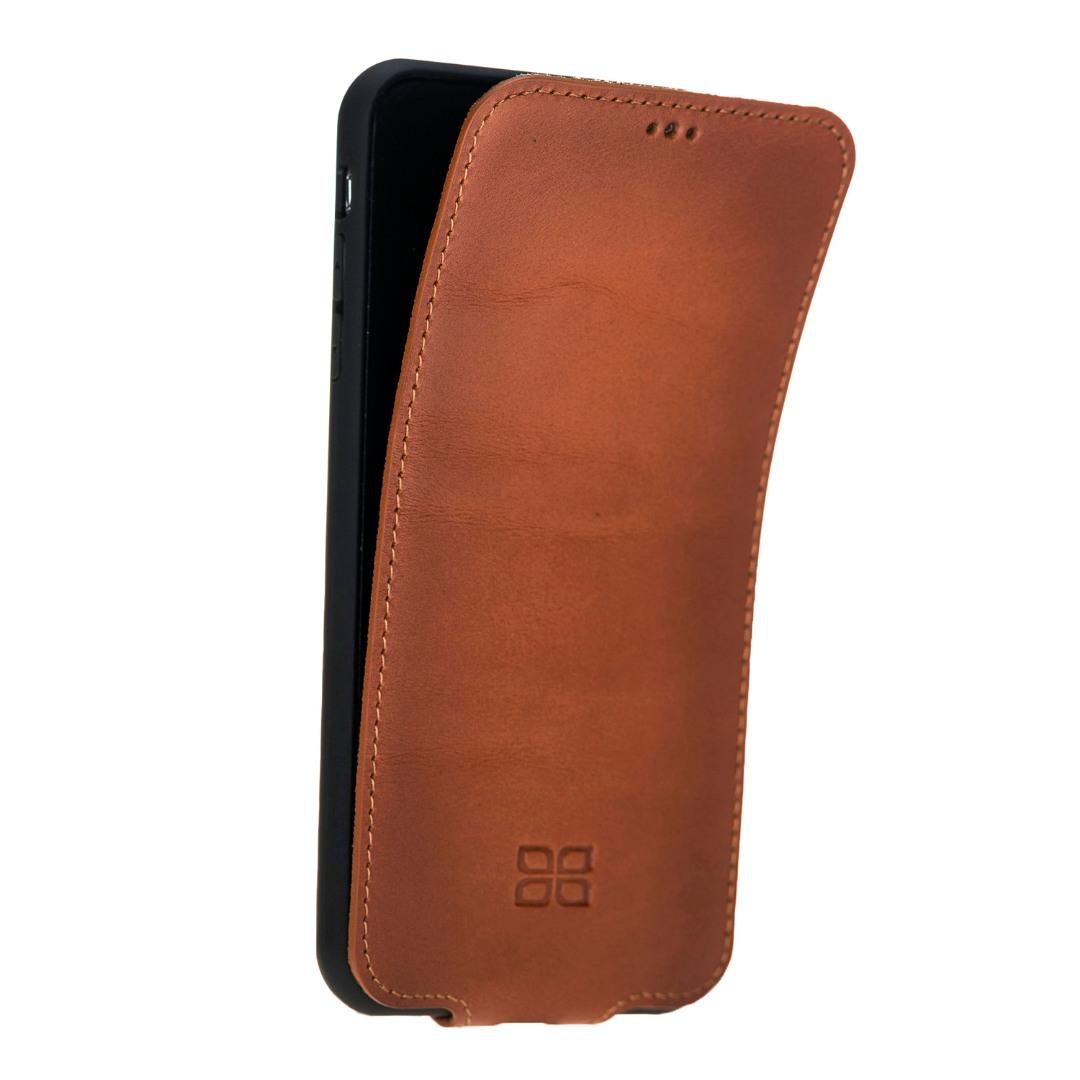 Husa slim din piele naturala premium, flip cover vertical magnetic, rama TPU moale, iPhone X / XS - Bouletta, Burnished tan