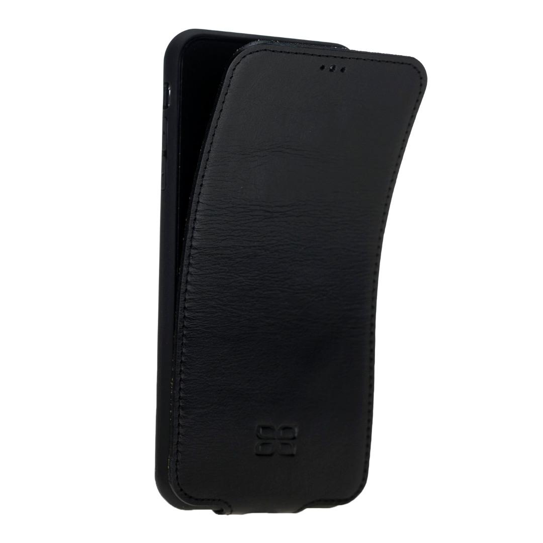 Husa slim din piele naturala premium, flip cover vertical magnetic, rama TPU moale, iPhone X / XS - Bouletta, Rustic black