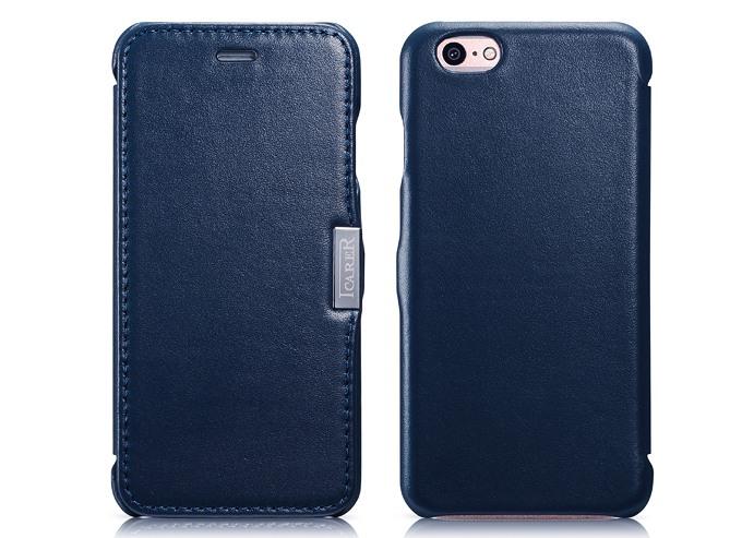 Husa din piele naturala, tip carte, iPhone 6 / 6s - iCarer Luxury Side Open, Albastru