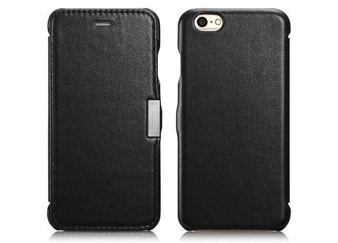 Husa din piele naturala, tip carte, iPhone 6 / 6s - iCarer Luxury Side Open, Negru