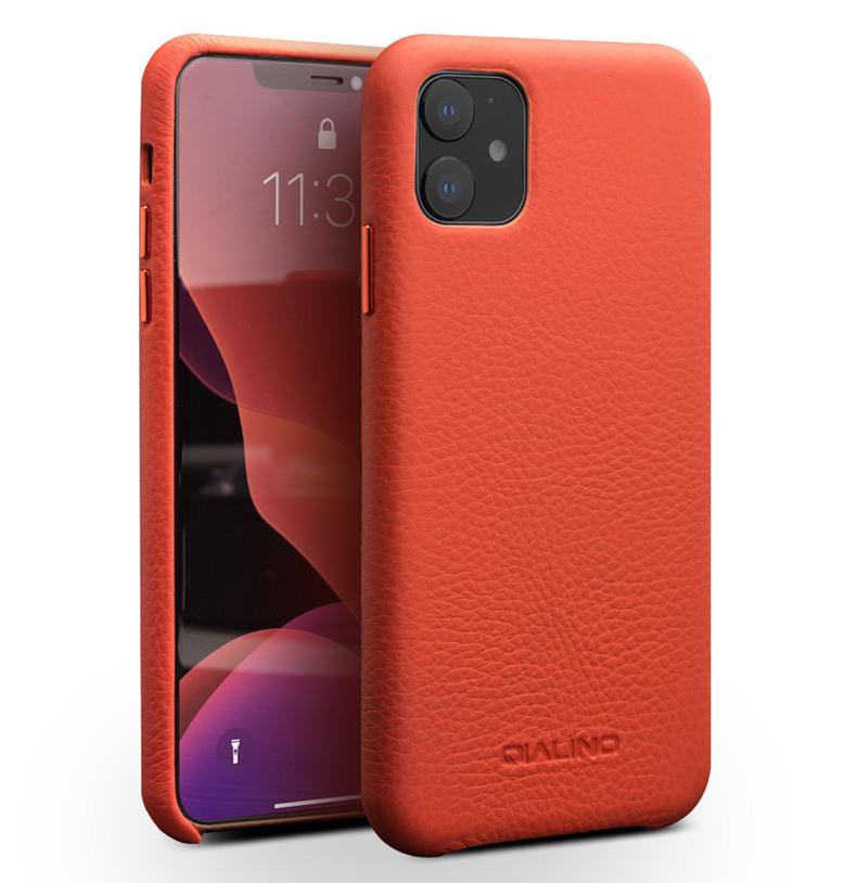 Husa slim din piele moale de bovina, tip back cover, iPhone 11 - Qialino Litchi, Orange