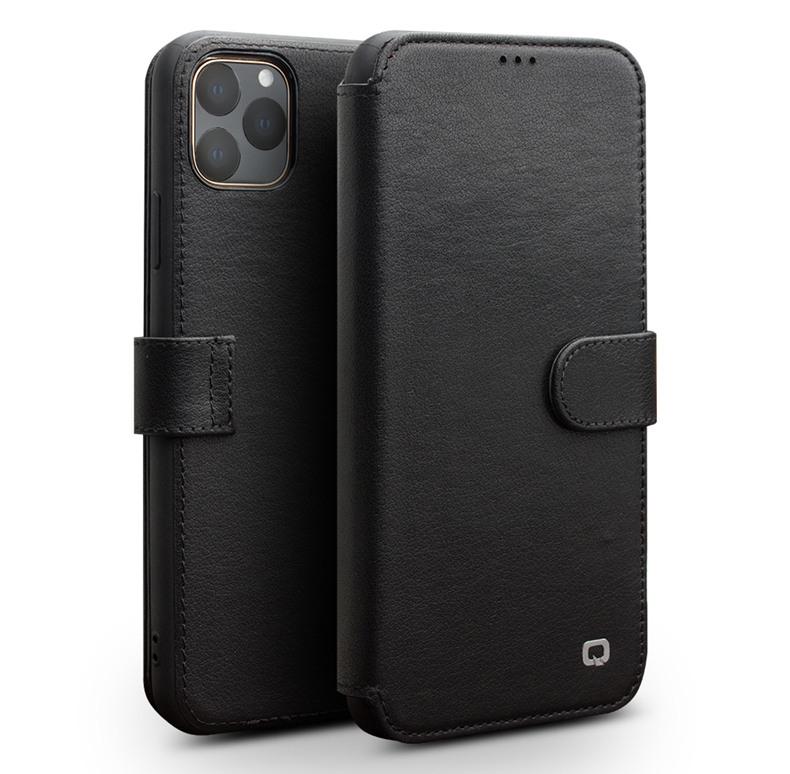Husa piele naturala tip portofel, inchidere magnetica, protectie 360, iPhone 11 Pro Max - Qialino, Negru
