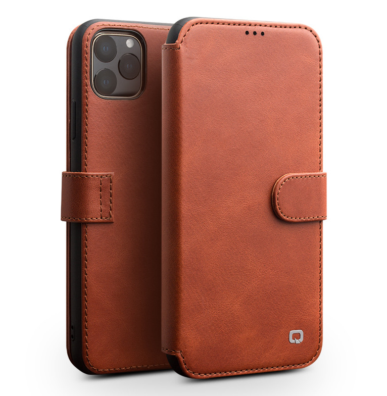 Husa piele naturala tip portofel, inchidere magnetica, protectie 360, iPhone 11 Pro - Qialino, Maro tabac
