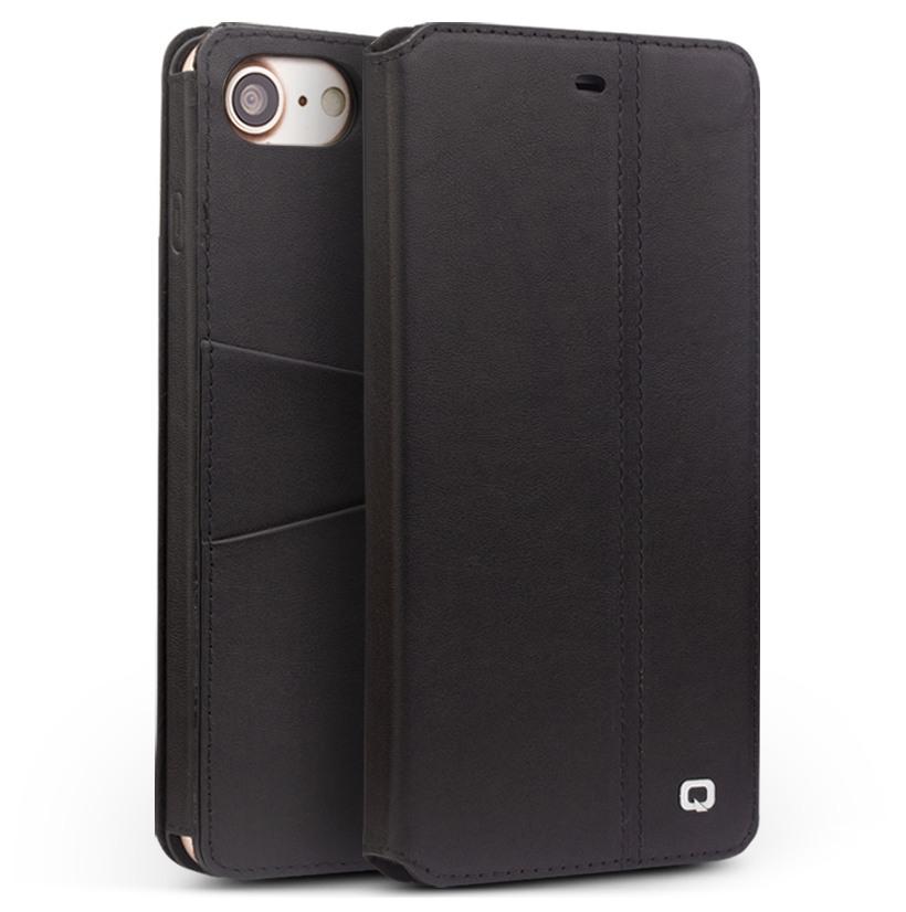 Husa piele naturala cu rama completa, tip carte, iPhone 8 / iPhone 7 - Qialino Full Frame, Negru