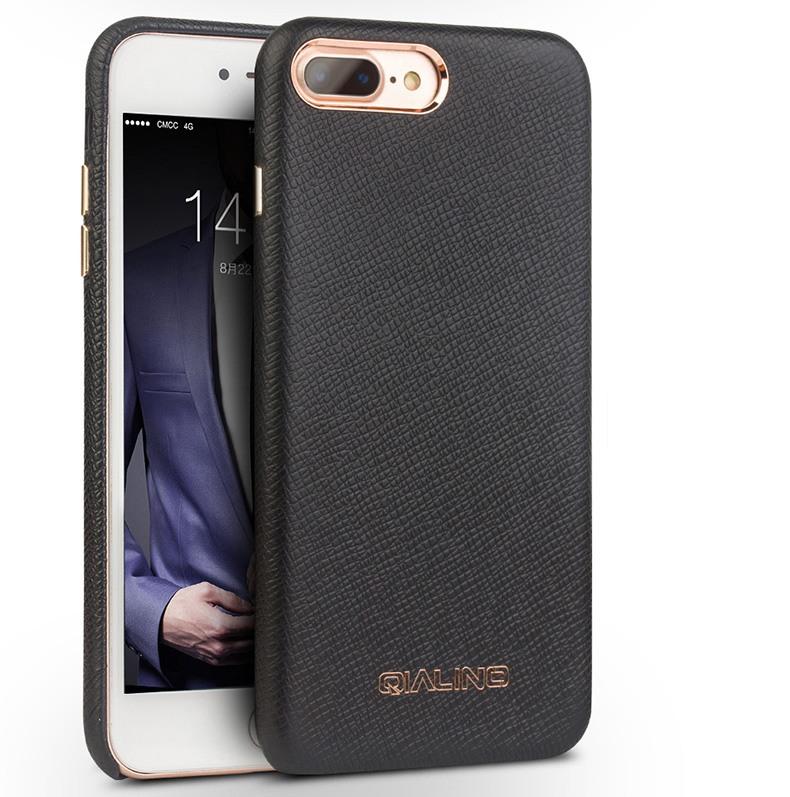 Husa slim piele naturala, detalii rose gold, back cover, iPhone 8 Plus / 7 Plus - Qialino, Negru