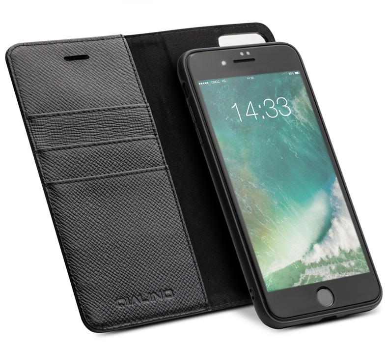 Husa multifunctionala 2 in 1 din piele naturala, tip carte + back cover, iPhone 8 Plus / 7 Plus - Qialino, Negru