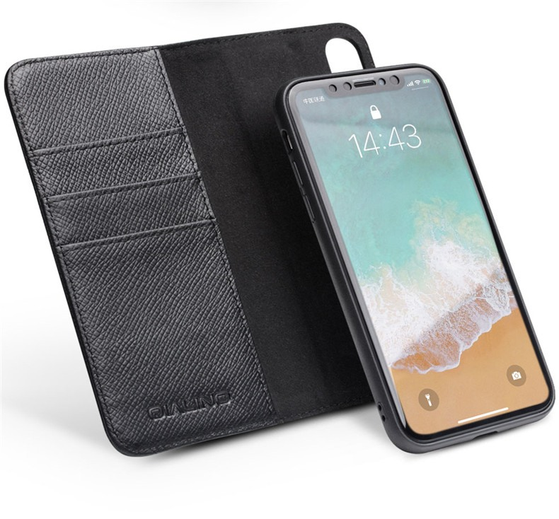 Husa multifunctionala 2 in 1 din piele naturala, tip carte + back cover, stand, iPhone X / XS - Qialino, Negru