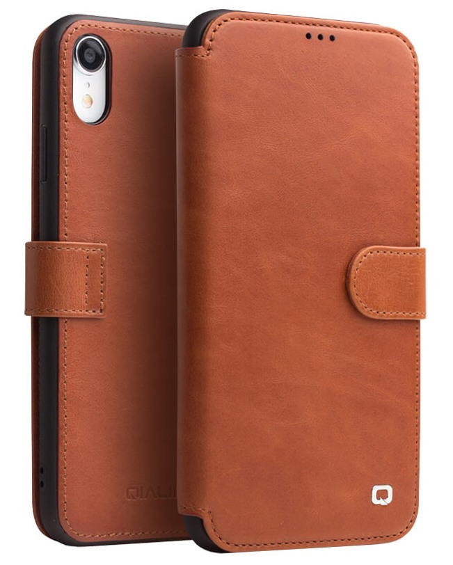 Husa piele naturala tip portofel, inchidere magnetica, protectie 360, iPhone XR - Qialino, Maro tabac
