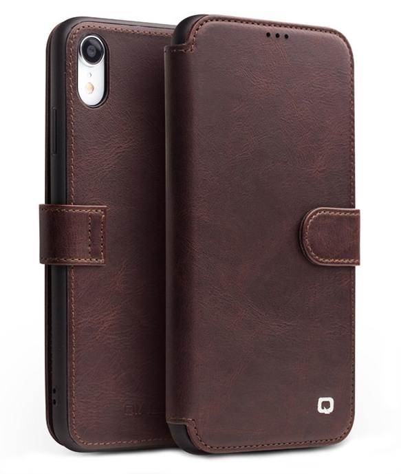 Husa piele naturala tip portofel, inchidere magnetica, protectie 360, iPhone XR - Qialino, Maro coffee