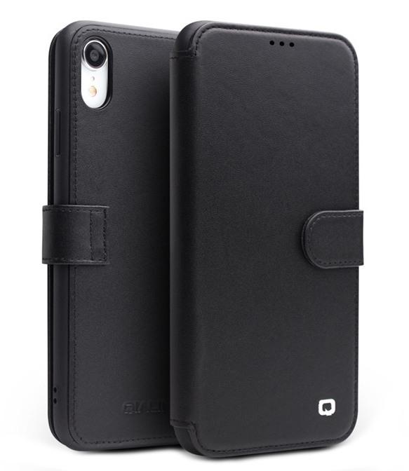 Husa piele naturala tip portofel, inchidere magnetica, protectie 360, iPhone XR - Qialino, Negru
