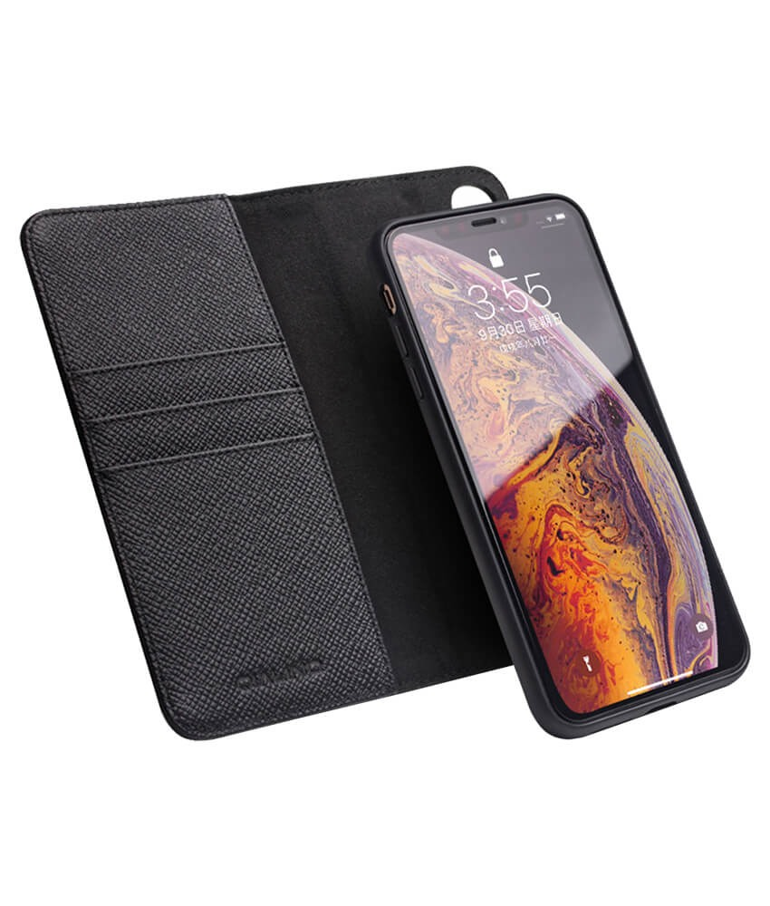 Husa multifunctionala 2 in 1 din piele naturala, tip carte + back cover, stand, iPhone XR - Qialino, Negru
